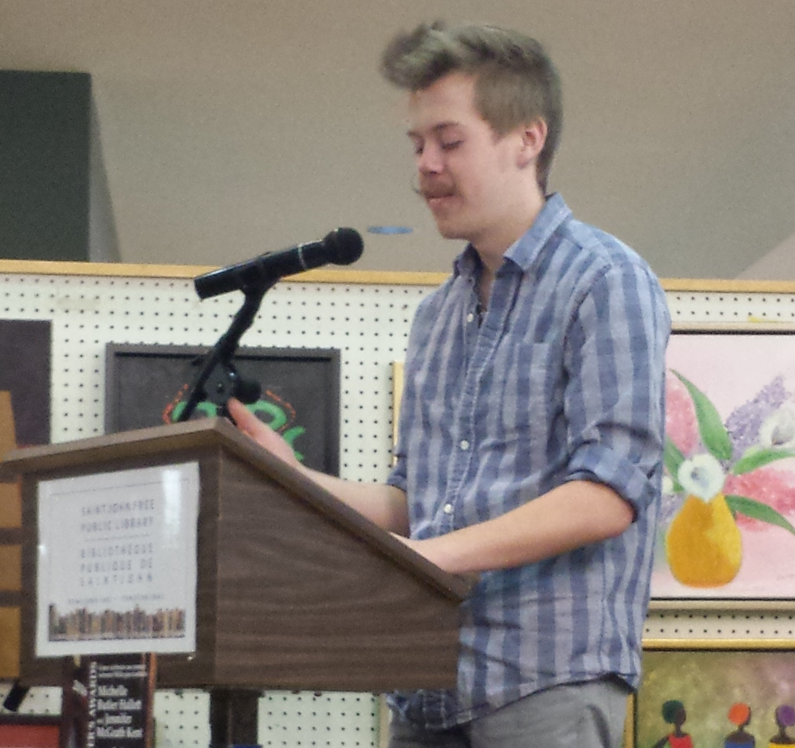 Spencer Folkins reading from his submission. Emerging Writers Awards 2015